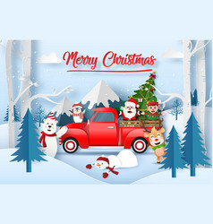 origami paper art santa claus with friend vector image