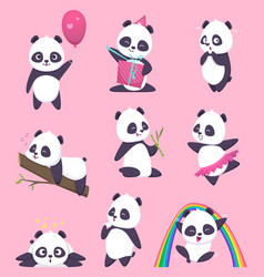 panda kids little funny bear sweet animals in vector image