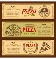 Pizza Horizontal Vintage Style Banners Set vector image