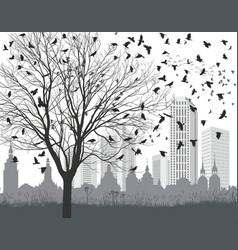 Ravens outside the city vector