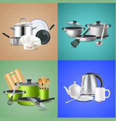 realistic kitchen tools design concept vector image