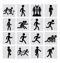 Runner figure icons vector image