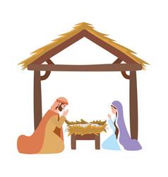 Saint joseph and mary virgin in stable manger vector