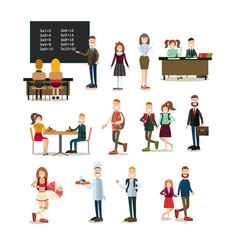School people flat icon set vector