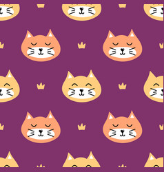 Seamless pattern background with cats and crowns vector