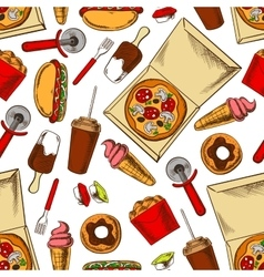 Seamless takeaway fast food pattern background vector