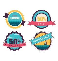 Set four retro labels for summer sale vector
