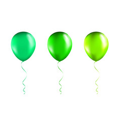 set green balloons on transparent white vector image