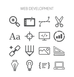 Set of simple icons for web development and vector
