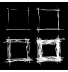 Set of White Hand Drawn Scribble Squares vector