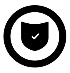 Shield the black color icon in circle or round vector