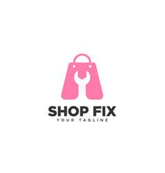 Shop fix logo design template vector