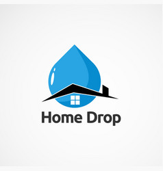 Simple home drop logo icon element and template vector