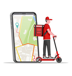 smartphone with app man riding electric scooter vector image