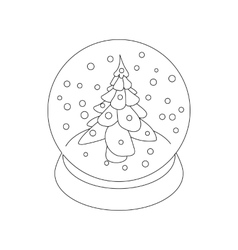 Snow glass ball fir tree icon outline style vector image