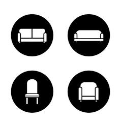 Soft furniture black icons set vector
