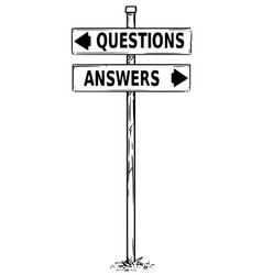 Two arrow sign drawing of question or answers vector