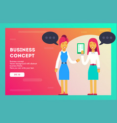 two business woman communicate vector image