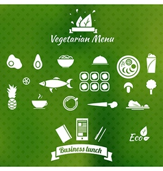 Vegetarian menu icons on blurred background vector