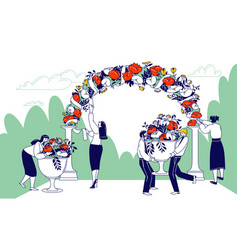 Wedding agency staff characters decorate outdoor vector
