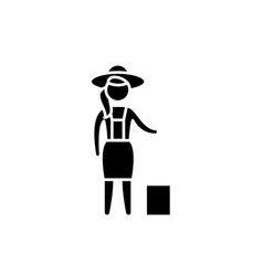 woman farmer black icon sign on isolated vector image