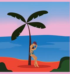 woman on beach beach tropical island vector image