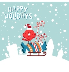 XMas card Image birdies in a Santa hat with vector image