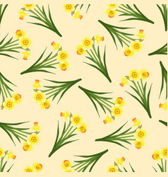 Yellow daffodil - narcissus seamless on beige vector