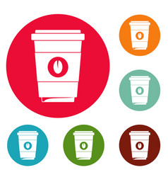 Coffee plastic cup icons circle set vector
