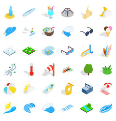 Ocean water icons set isometric style vector