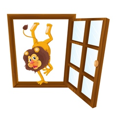 a lion in the window vector image vector image