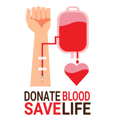 bag blood with hand of donor for world blood vector image vector image