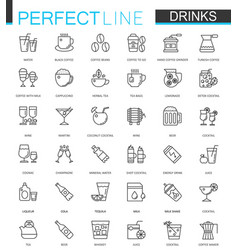 drinks thin line web icons set drink outline vector image