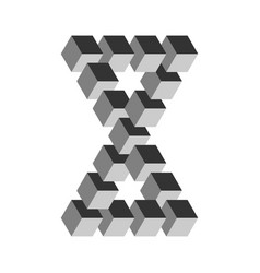 Two connected impossible triangles in grey 3d vector