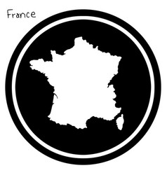white map of france on black circle vector image vector image