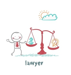 attorney weighs in the balance money and the idea vector image