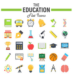education flat icon set school sign collection vector image