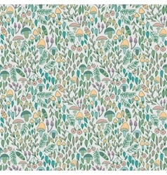 Forest seamless pattern mushrooms berries and vector image