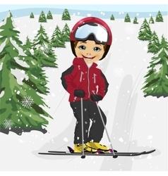 Little boy skiing in the ski resort vector image vector image
