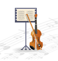 violin instrument with music sheet concept music vector image