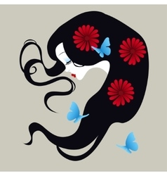 beautiful silhouette of a girl with flowers in her vector image