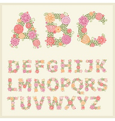 colorful flower font vector image vector image