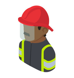 firefighter man african american icon isometric vector image