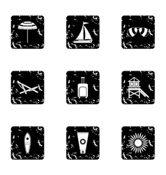 Holiday in Miami icons set grunge style vector image