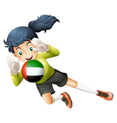 A female soccer player with the United Arab vector image