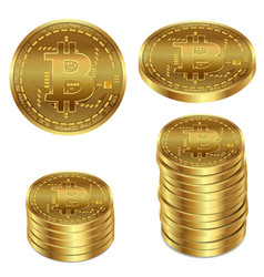 A golden bitcoin on a white vector