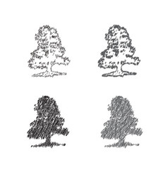 a set of hand drawing of decorative trees vector image