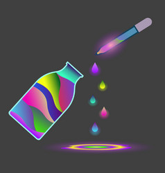 Abstract drawing of a jar with multi-colored vector