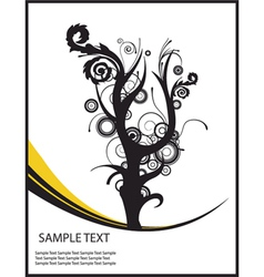 Abstract floral background with tree and wave vector