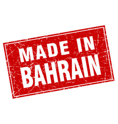 Bahrain red square grunge made in stamp vector